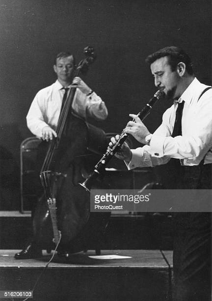 American Jazz musician Pete Fountain plays clarinette with an unidentified bassist New York 1967