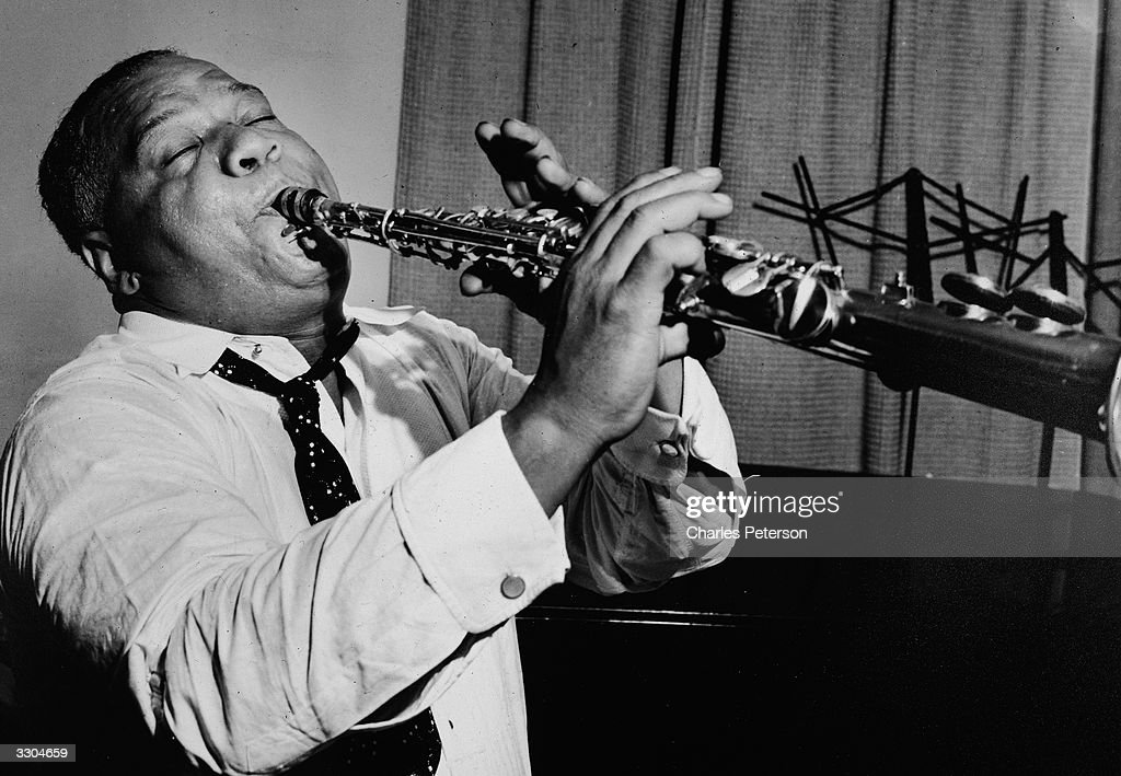 American jazz musician Sidney Bechet plays clarinet for a recording of the song, 'Summertime' in a Blue Note session, June 8, 1939.