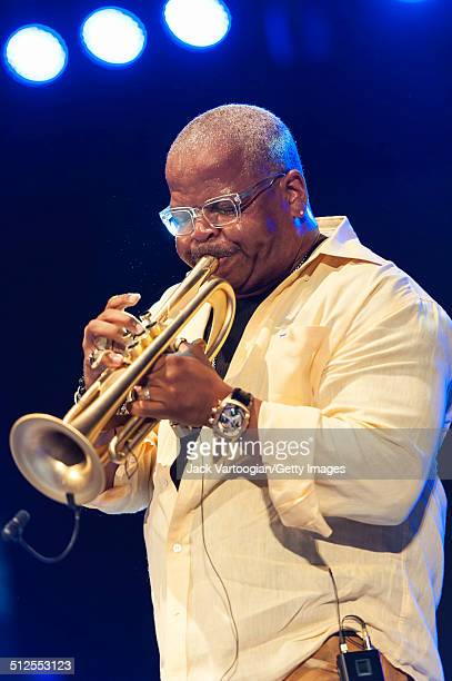 American Jazz musician Terence Blanchard plays trumpet during a guest appearance with the Revive Big Band at a dual celebration of Blue Note's 75th...
