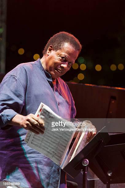 American jazz musician Wayne Shorter at a music stand on the Carhartt Amphitheatre Stage at the Detroit Jazz Festival Detroit Michigan September 2...