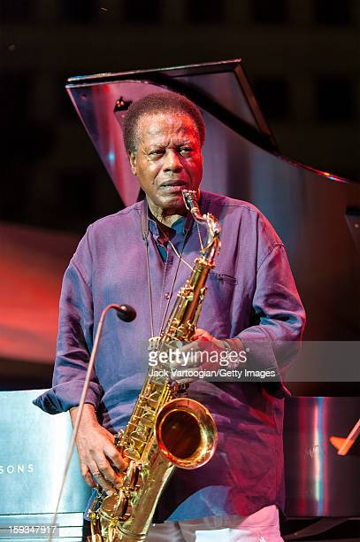 American jazz musician Wayne Shorter plays tenor saxophone on the Carhartt Amphitheatre Stage at the Detroit Jazz Festival Detroit Michigan September...