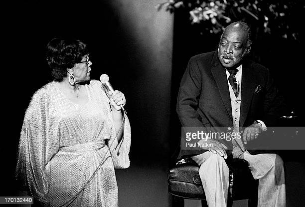 American jazz musicians Ella Fitzgerald on vocals and Count Basie on piano perform during a recording of an episode of the PBS television series...
