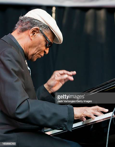 American jazz pianist McCoy Tyner performs at the 18th Annual Charlie Parker Jazz Festival in Harlem's Marcus Garvey Park New York New York August 28...