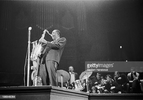 American jazz saxophone player John Coltrane performs live at the Concertgebouw in Amsterdam on October 27 1963