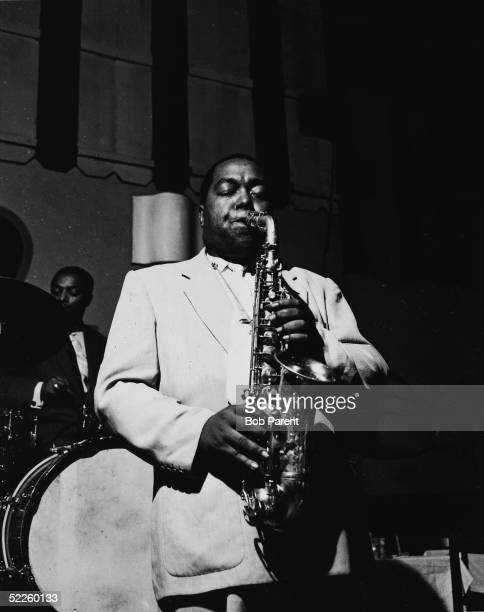 American jazz saxophonist and composer Charlie Parker plays the alto saxophone during a performance at the Open Door cafe in New York New York...