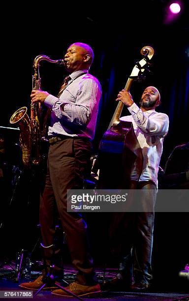 American jazz saxophonist Branford Marsalis performs on stage with bassist Eric Revis on North Sea Jazz Festival Ahoy Rotterdam Netherlands 12 July...