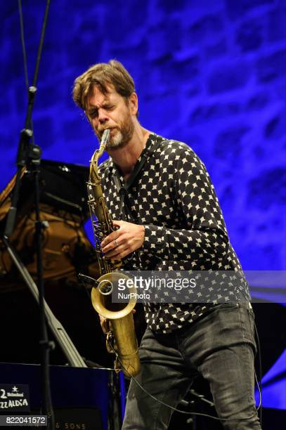 American Jazz saxophonist Donny McCaslin performs onstage with the Donny McCaslin Quartet during 52nd edition of Heineken Jazzaldia Festival on July...