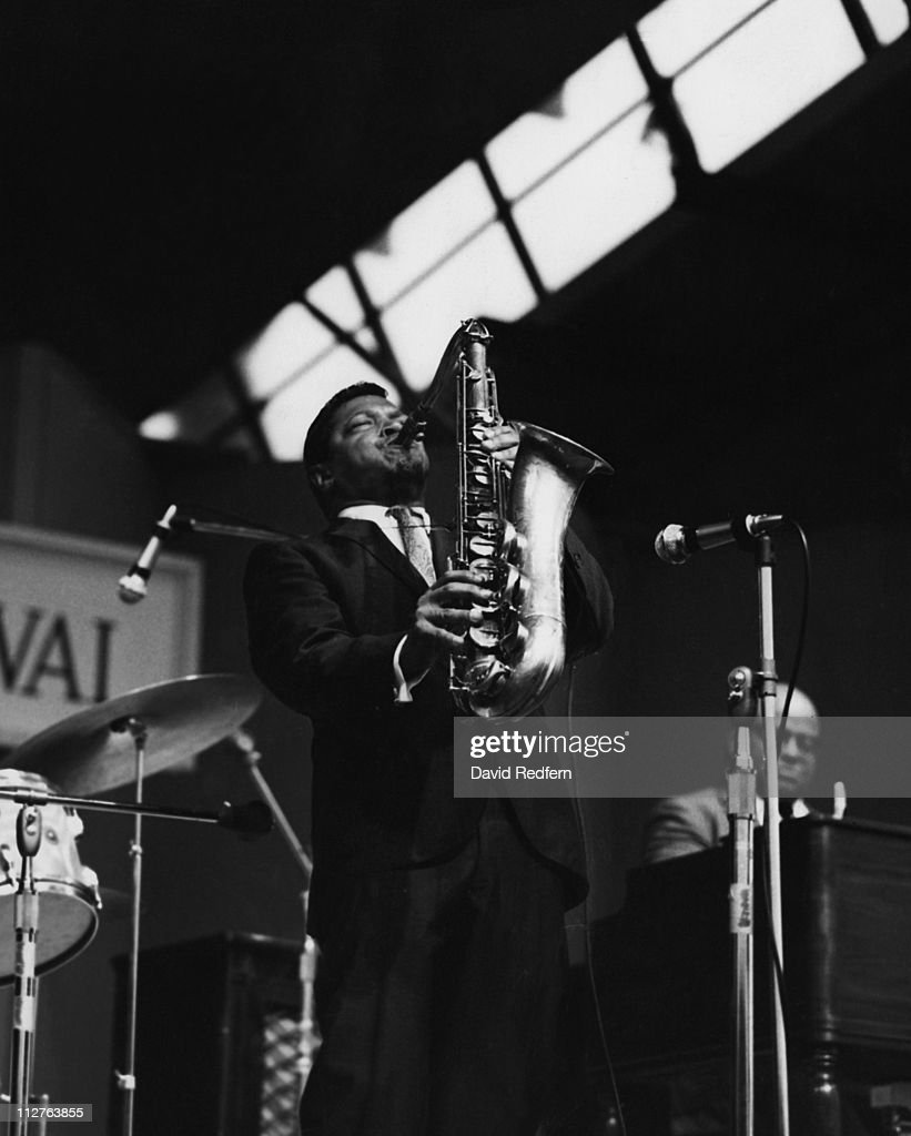 Illinois Jacquet (1922-2004), U.S. jazz saxophonist, playing the saxophone during a live concert performance at the Newport Jazz Festival in Newport, Rhode Island, USA, 3 July 1967.