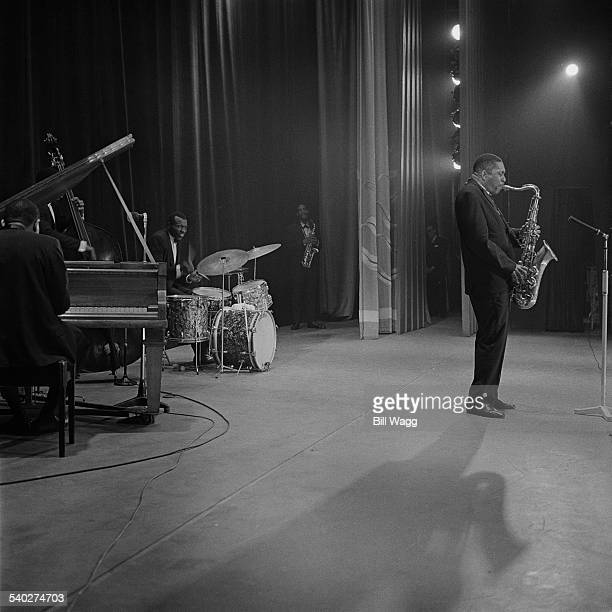 American jazz saxophonist John Coltrane performs with drummer Elvin Jones and saxophonist Eric Dolphy at Birmingham Hippodrome 12th November 1961