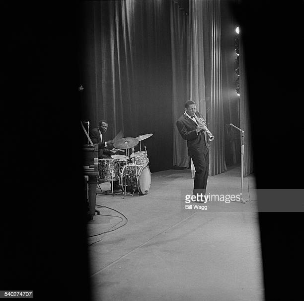 American jazz saxophonist John Coltrane performs with drummer Elvin Jones at Birmingham Hippodrome 12th November 1961