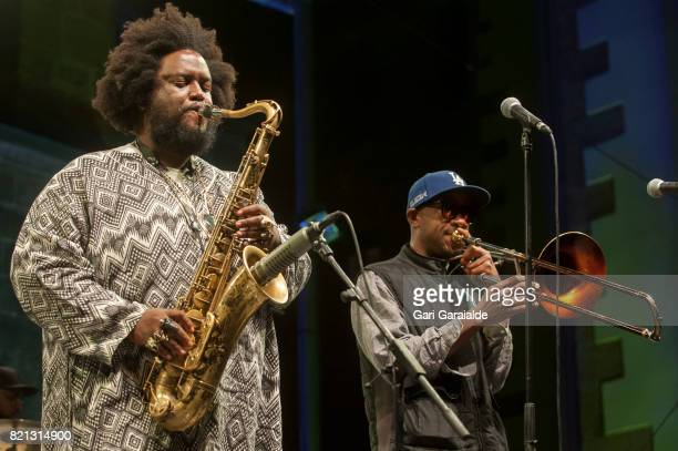 American Jazz saxophonist Kamasi Washington and Trombonist Ryan Porter perform onstage during 52nd edition of Heineken Jazzaldia Festival on July 23...