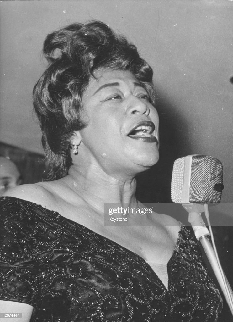American jazz scat singer <a gi-track='captionPersonalityLinkClicked' href=/galleries/search?phrase=Ella+Fitzgerald&family=editorial&specificpeople=90780 ng-click='$event.stopPropagation()'>Ella Fitzgerald</a> (1917 - 1996) during her performance at the Bal Pare in the Hotel Bayerischer Hof, Munich.