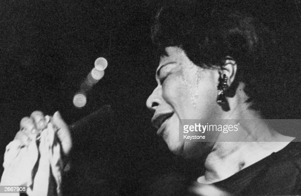American jazz scat singer Ella Fitzgerald in performance during the Sunday Night Show at the London Palladium