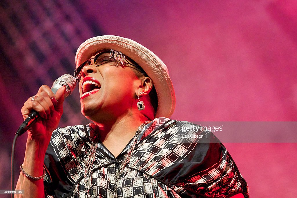 American Jazz Singer <a gi-track='captionPersonalityLinkClicked' href=/galleries/search?phrase=Dee+Dee+Bridgewater&family=editorial&specificpeople=2518501 ng-click='$event.stopPropagation()'>Dee Dee Bridgewater</a> performs at the Jazz Showcase at Gaiety On Rodney Bay for the St. Lucia Jazz & Arts Festival on May 8, 2014 in Castries, Saint Lucia.