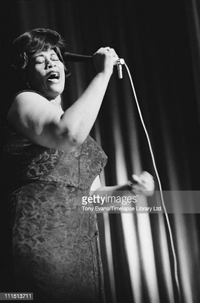 American jazz singer Ella Fitzgerald in concert 1964 She is being accompanied by Canadian jazz pianist Oscar Peterson