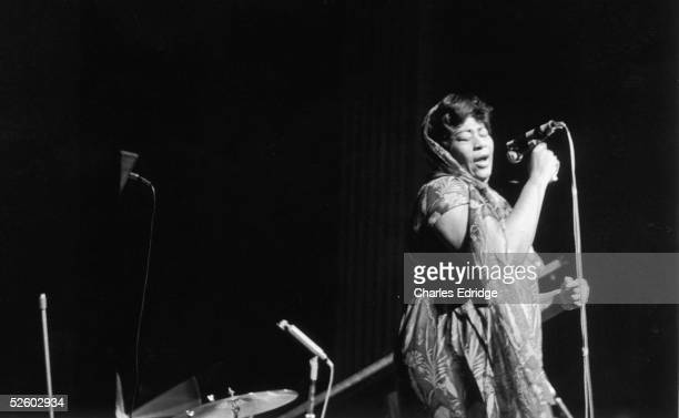 American jazz singer Ella Fitzgerald performing with Duke Ellington at the Theatre d'Olympia in Paris mid 1960s
