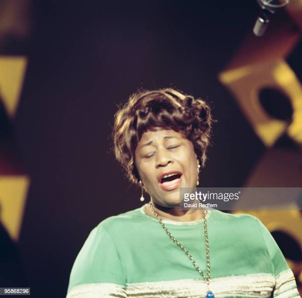 American jazz singer Ella Fitzgerald performs on a television show in 1964
