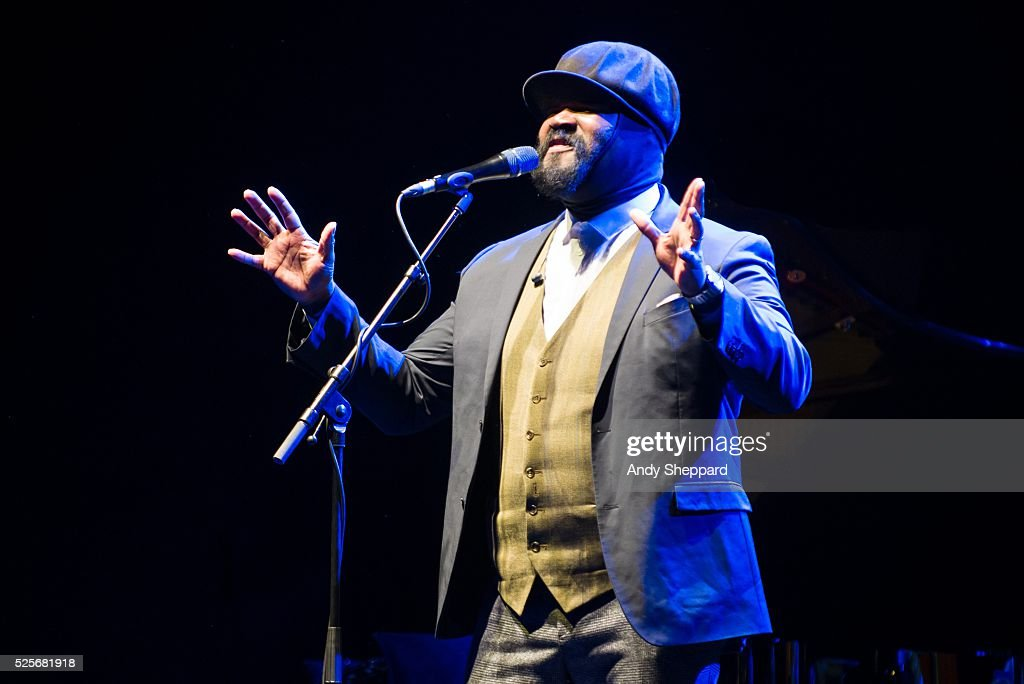 American Jazz singer Gregory Porter performs on stage at Eventim Apollo on April 28, 2016 in London, England.