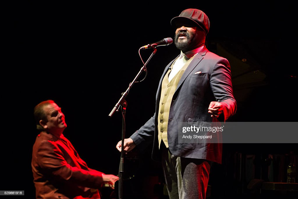 American Jazz singer Gregory Porter performs on stage with pianist Chip Crawford at Eventim Apollo on April 28, 2016 in London, England.