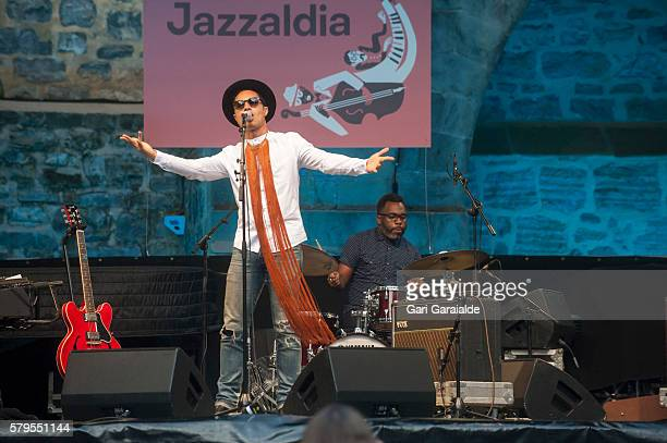 American jazz singer Jose James performs onstage with drummer Nate Smith during 51st edition of Heineken Jazzaldia Festival on July 24 2016 in San...