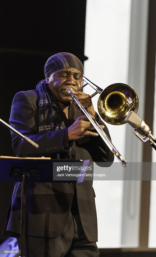 American Jazz trombonist Kuumba Steve Lacy performs with Steve Turre and the Bones of Art band at Dizzy's Club CocaCola at Frederick P Rose Hall Jazz...