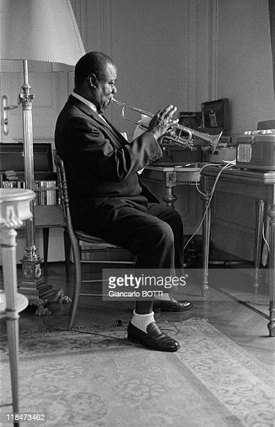 American jazz trumpeter and singer Louis Armstrong in April 1959 in France