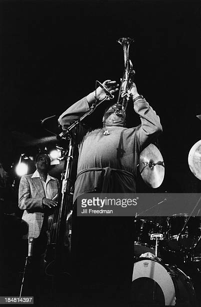 American jazz trumpeter bandleader and composer Dizzy Gillespie and American jazz double bassist Ray Brown perform on stage in New York City 1981