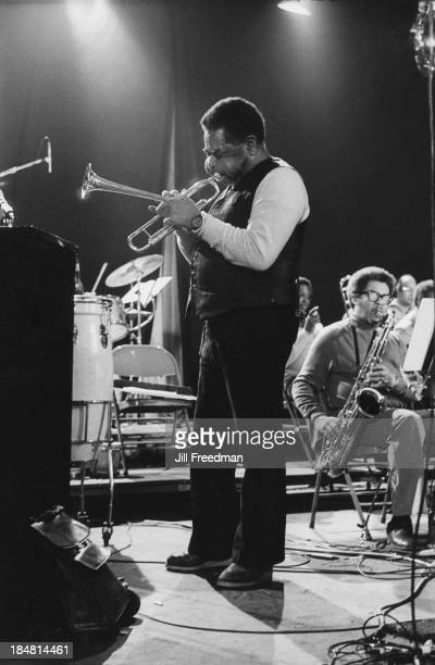 American jazz trumpeter bandleader and composer Dizzy Gillespie and American tenor and soprano saxophonist Frank Foster during rehearsals for 'Dizzy...