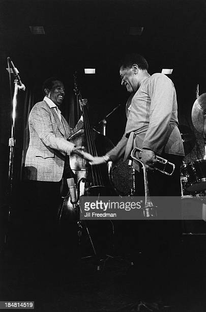American jazz trumpeter bandleader and composer Dizzy Gillespie on stage with American jazz double bassist Ray Brown New York City 1981