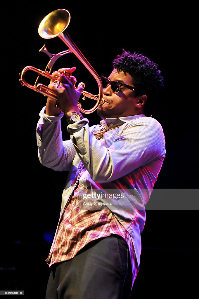 American jazz trumpeter Christian Scott performs on stage at Royal Festival Hall during the fourth day of London Jazz Festival 2010 on November 15, 2010 in London, England.