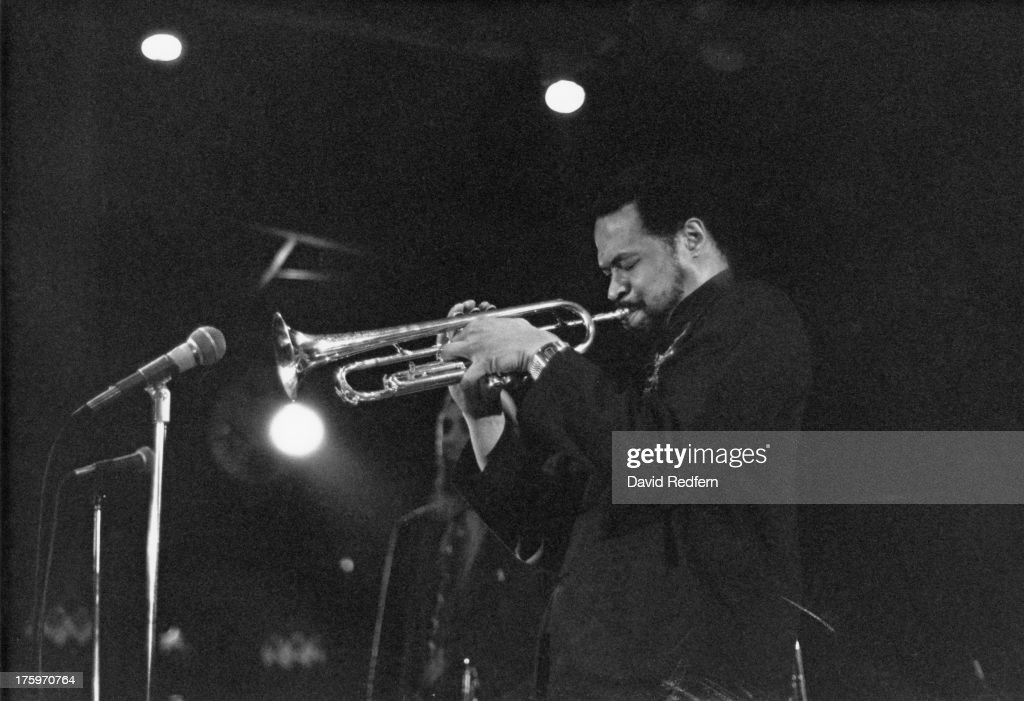 American jazz trumpeter <a gi-track='captionPersonalityLinkClicked' href=/galleries/search?phrase=Donald+Byrd&family=editorial&specificpeople=1551105 ng-click='$event.stopPropagation()'>Donald Byrd</a> (1932 - 2013) performing, circa 1975.