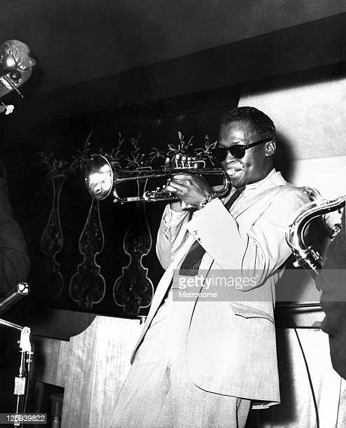 American jazz trumpeter Miles Davis performs on stage with the Miles Davis Quintet on October 7 1956 in St Louis Missouri