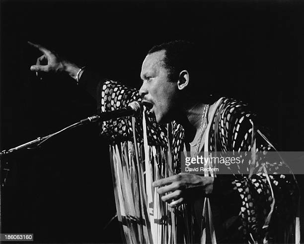 American jazz vibraphone player and composer Roy Ayers performing at the Hammersmith Odeon London March 1983
