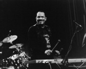 American jazz vibraphone player and composer Roy Ayers performing circa 1985