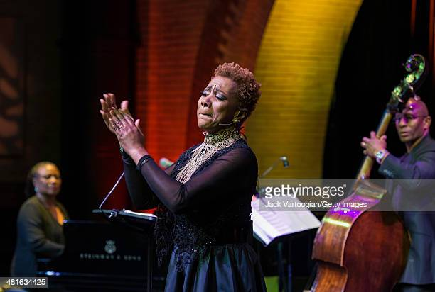 American Jazz vocalist Carmen Lundy performs with the Geri Allen Trio in 'A Conversation with Mary Lou Geri Allen Celebrates Mary Lou Williams' a...