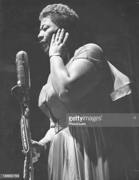 American jazz vocalist Ella Fitzgerald performs at the Newport Jazz Festival Newport Rhode Island 1957