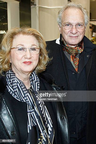 American jeweler David Yurman and his wife Sybil attend the launch of the Printemps new department store at Louvre on January 22 2014 in Paris France