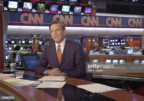 American journalist and CNN news anchor Aaron Brown delivers the news from CNN's headquarters in Atlanta Georgia October 9 2001 Brown has covered the...