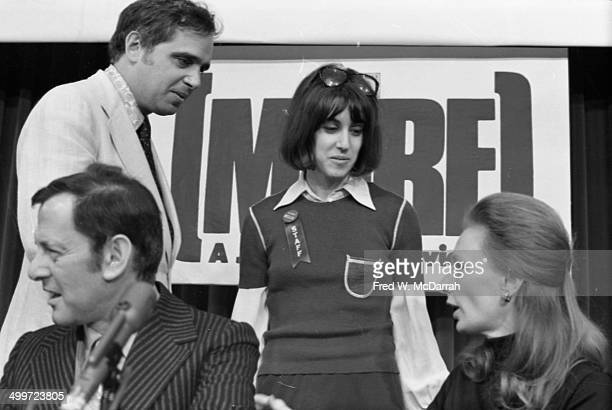 American journalist/authors J Anthony Lukas and Nora Ephron speak at a panel discusison entitled 'How They Cover Me' at the AJ Liebling...