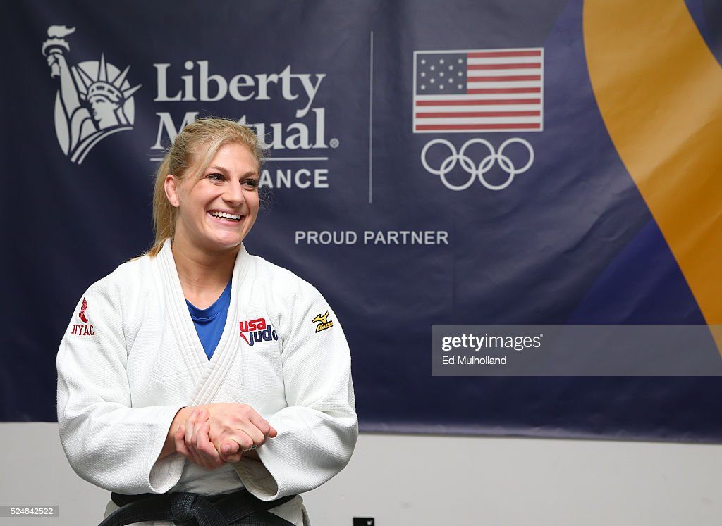 American judoka <a gi-track='captionPersonalityLinkClicked' href=/galleries/search?phrase=Kayla+Harrison&family=editorial&specificpeople=7179048 ng-click='$event.stopPropagation()'>Kayla Harrison</a>, the 2012 Olympic gold medalist performs a judo demonstration with Team USA partner Liberty Mutual Insurance on April 26, 2016 in New York City.