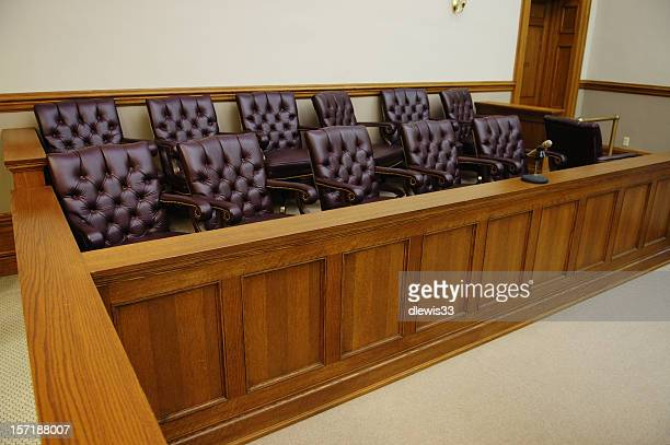 American jury box, wood trim and white walls in background
