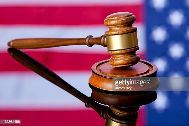 American Justice; Gavel with USA Flag Background