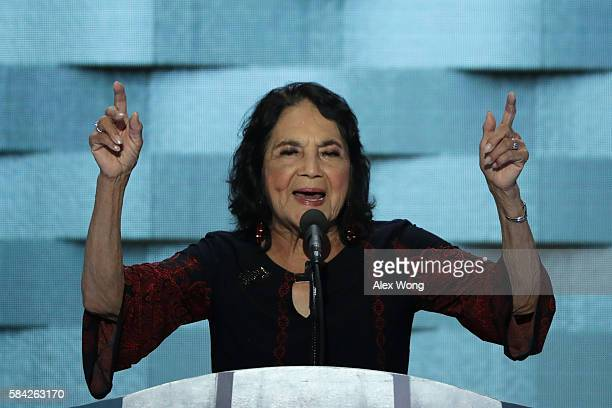 American labor leader and civil rights activist Dolores Huerta delivers remarks on the fourth day of the Democratic National Convention at the Wells...