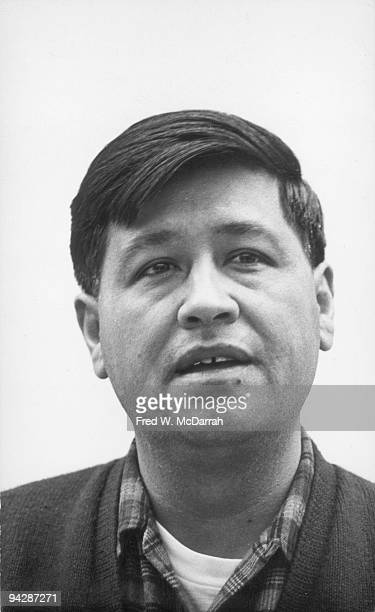American labor leader and cofounder of the United Farm Workers Cesar Chavez speaks at a rally in support of a grape boycott at a Grand Union...