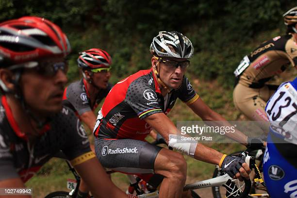 American Lance Armstrong of team RadioShack rides along the 2275km route from Montargis to Gueugnon in stage six of the Tour de France July 9 2010 in...
