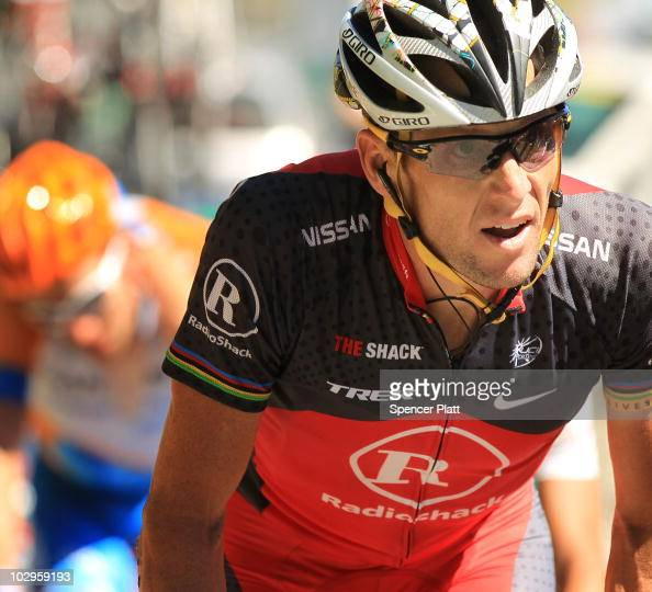 American Lance Armstrong of team RadioShack rides on a climb of Stage 14 of the Tour de France the first stage to enter the Pyrenees on July 18 2010...