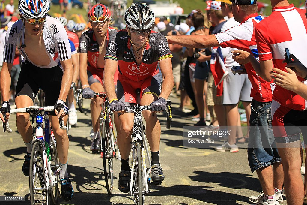 American <a gi-track='captionPersonalityLinkClicked' href=/galleries/search?phrase=Lance+Armstrong&family=editorial&specificpeople=203072 ng-click='$event.stopPropagation()'>Lance Armstrong</a> of team RadioShack rides on a climb of Stage 14 of the Tour de France, the first stage to enter the Pyrenees, on July 18, 2010 in Ax 3 Domaines, France. Armstrong currently sits in 38th place. The 184.5km course from Revel features some of the toughest climbs so far in the race including the Port de Pailhères, which at 15.5 kilometers with an average gradient of 7.9% and higher may reveal who is strongest in the peloton. Andy Schleck of team Saxo Bank continues to wear the yellow jersey, while Astana`s Alberto Contador of Spain is a close second. Christophe Riblon of France won the stage. The iconic bicycle race will include a total of 20 stages and will cover 3,642km before concluding in Paris on July 25.