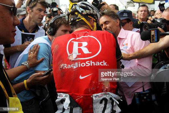 American Lance Armstrong with team RadioShack speaks to the media following the end of stage eight of the Tour de France July 11 2010 in Avoriaz...
