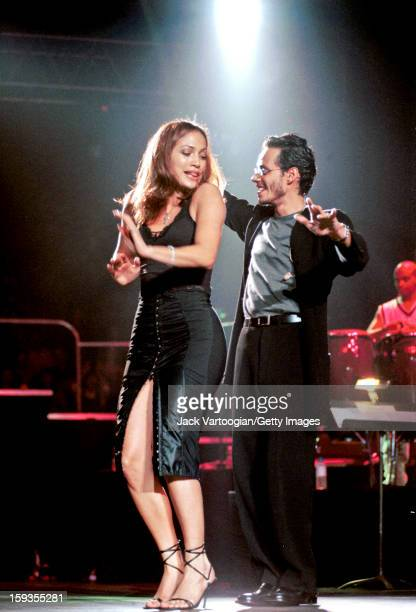 American Latin and pop singer Marc Anthony performs onstage with Jennifer Lopez at Madison Square Garden concert New York New York September 26 1998