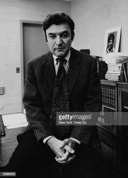 American lawyer and head of the NAACP Legal Defense Fund sits on his desk in his office at 10 Columbus Circle New York City New York May 9 1974